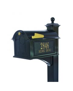 Black Large Capacity Mailbox with Side Plaques & Post