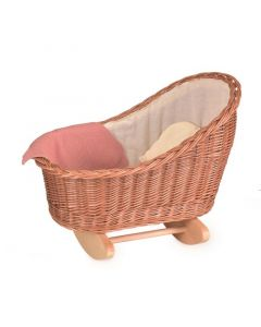 Wicker Doll Cradle With Knitted Blanket