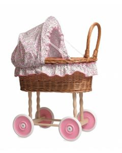 Wicker Doll Pram With Floral Bedding