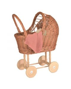 Wicker Doll Pram With Knitted Blanket
