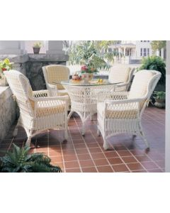 Five Piece Dining Set: Wicker Wing Chairs and Table- Available in a Variety of Finishes