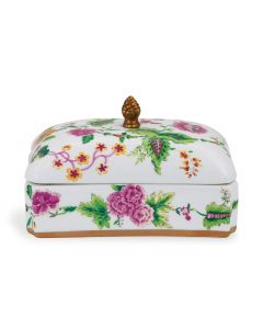 Williamsburg Collection Pineapple Pink and White Decorative Box