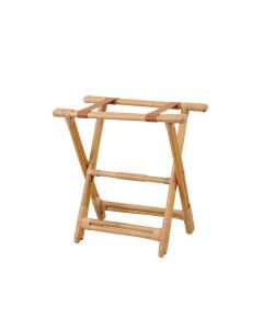 Wood Luggage Rack with Natural Brown Leather Straps