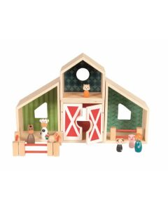 Wooden Farmhouse and Animal Playset For Kids