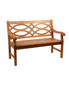 Wooden Outdoor Lattice Back Garden Bench in Natural Oiled Finish