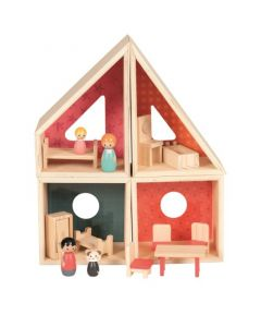 Wooden Mini Doll House Playset For Kids