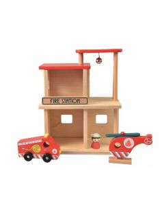 Wooden Fire Station Toy Playset for Kids