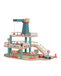 Wooden Garage with Crane Toy Playset for Kids