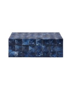 Worlds Away Hand Crafted Bronson Decorative Box in Blue