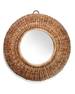Woven Cane Round Wall Mirror