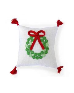 White, Red and Green Christmas Wreath Holiday Pillow - ON BACKORDER UNTIL JANUARY 2021