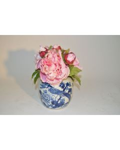 Pink Peonies in Blue and White Painted Pot