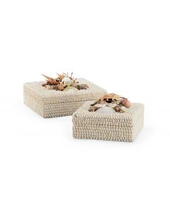 Coastal White Shell Set of Two Decorative Boxes