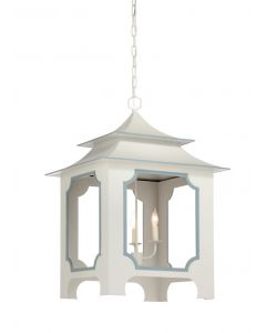 Large Tole Pagoda Lantern with Light Gray Lacquer and Blue Gray Trim