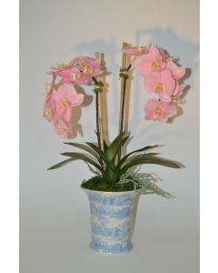 Pink Faux Orchid Plant in Blue and White Ceramic Vase