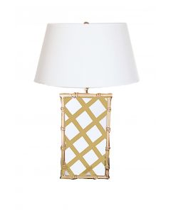 Taupe Gingham Bamboo Tole Table Lamp with Shade