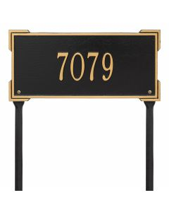 Personalized Lawn Address Plaque - Black & Gold