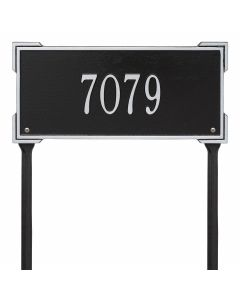 Personalized Lawn Address Plaque - Black & Silver