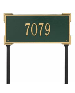 Personalized Lawn Address Plaque - Green & Gold
