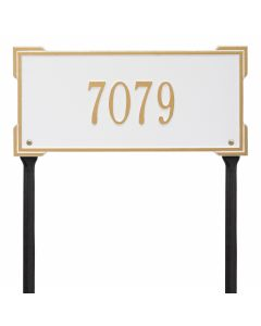 Personalized Lawn Address Plaque - White & Gold