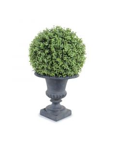 11 Inch Faux Boxwood Ball in Grey Urn 21 Inches Tall