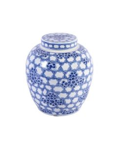 Blue and White Honeycomb Floral Lidded Ming Jar