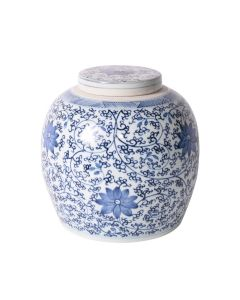 Blue and White Twisted Vine Lidded Jar