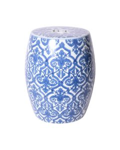 Blue and White Paris Tile Floral Porcelain Garden Stool - ON BACKORDER UNTIL AUGUST 2020
