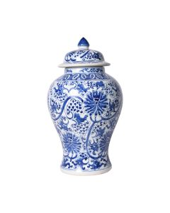 Blue and White Peacock Lotus Temple Jar - ON BACKORDER UNTIL MAY 2021