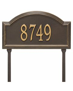 Personalized Arch Standard Lawn Address Plaque - Bronze/Gold