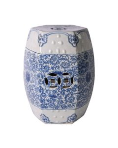 Blue and White Porcelain Hexagonal Lotus Stool