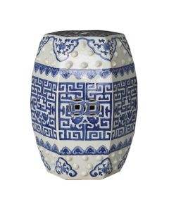 Blue and White Hex Geometric Garden Stool