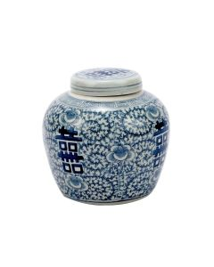 Blue & White Double Happiness Floral Lidded Jar - LOW STOCK