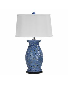 Blue Scale Textured Ceramic Lamp with White Shade