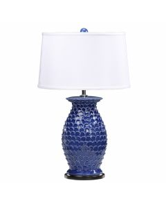 Dark Blue Fish Scale Scalloped Lamp with White Shade
