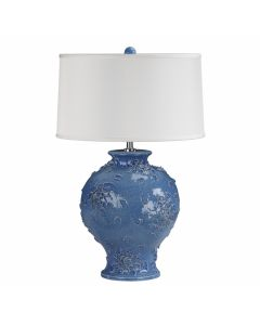 Light Blue Scale Textured Ceramic Lamp with White Shade