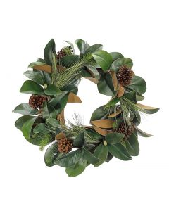 "24"" Classic Holiday Magnolia Pine Wreath"