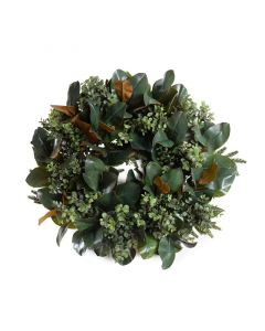 24 Inch Diameter Faux Boxwood and Magnolia Wreath
