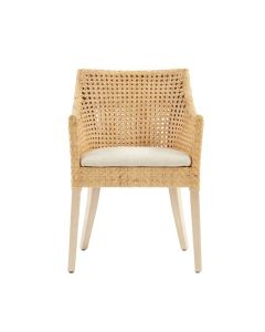 Mahogany Wood and Rattan Arm Chair With Natural Colored Cushion