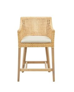 Mahogany Wood and Rattan Counter Chair With Natural Colored Cushion