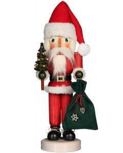 Red Santa with Tree Traditional German Nutcracker Christmas Decoration - ON BACKORDER UNTIL 2021