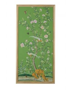 Regent Park In Green 1 Chinoiserie Panel Framed Wall Art With Birds and Flowers