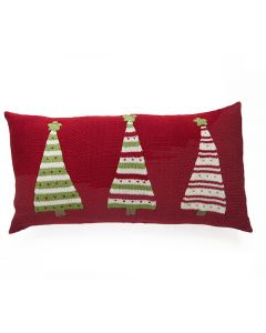 3 Christmas Trees With Stripes Holiday Lumbar Pillow in Red
