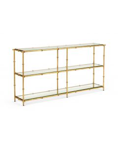 3 Tier Antique Gold Iron Bamboo Console Table With Clear Beveled Glass Top - ON BACKORDER