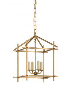 4 Light Antique Gold Leaf Lantern Chandelier - ON BACKORDER UNTIL AUGUST 2020