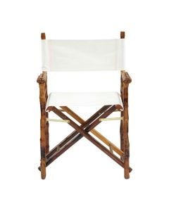 Set of Two: Folding Directors Chair with Tortoise Matte Finish and White Canvas - ON BACKORDER UNTIL MID-JULY 2021