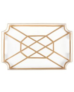 Fretwork Design Decorative Serving Tray in White and Gold