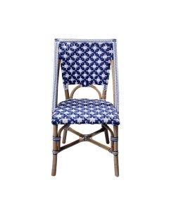 Set of Two - White and Navy Blue Star Patterned Bistro Chairs - ON BACKORDER UNTIL JUNE 2021