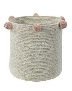 Washable Woven Cotton Natural Nude Storage Basket with Pink Pom Poms