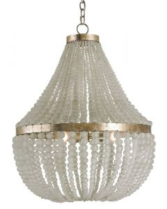 Frosted Crystal Beaded 3 Light Chandelier in a Silver Granello Finish